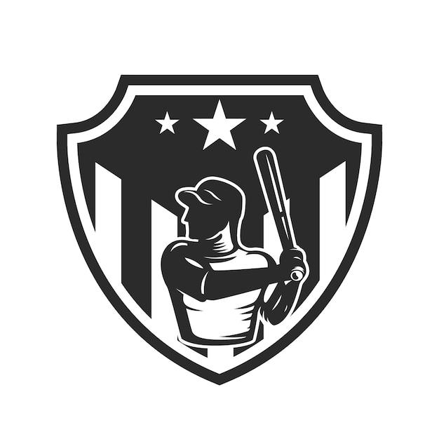 Emblem template with baseball player.  element for logo, label, emblem, sign.  illustration Premium Vector