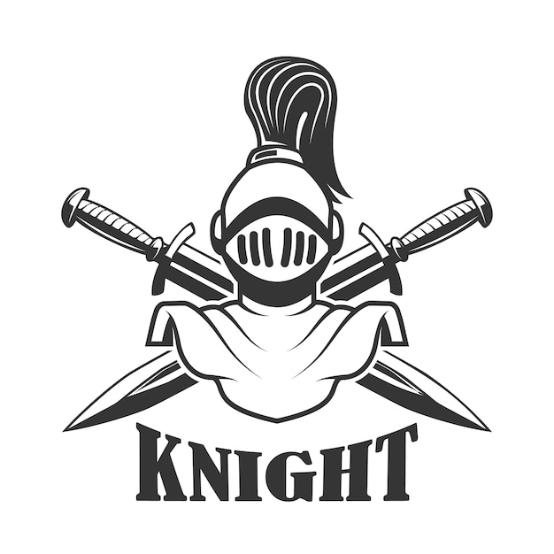 中世の騎士のヘルメットとエンブレムテンプレート。ロゴ、ラベル、記号の要素。図 Premiumベクター