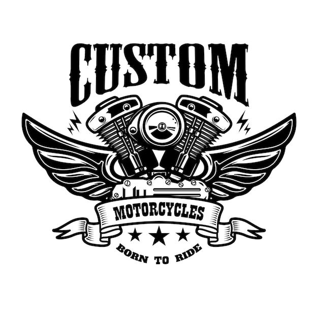 Emblem template with winged motorcycle motor. design element for poster, logo, label, sign, t shirt. Premium Vector