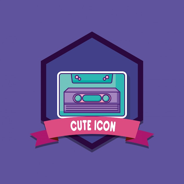 Emblem with casette icon Premium Vector