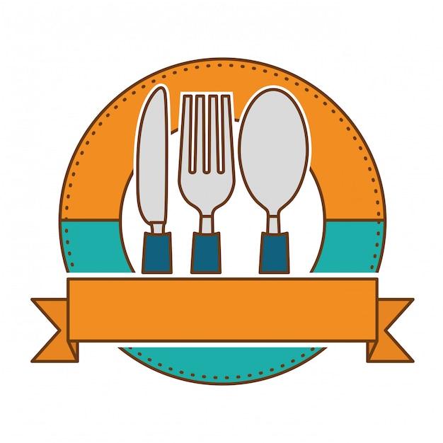 Emblem with cutlery Premium Vector