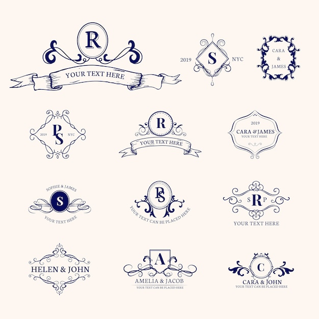Emblems with initials set Free Vector