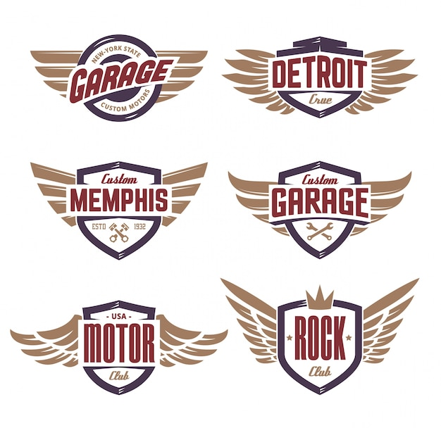Emblems with wings set Free Vector