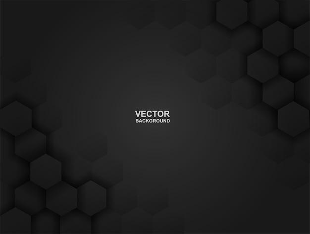 Embossed hexagon black background . Premium Vector