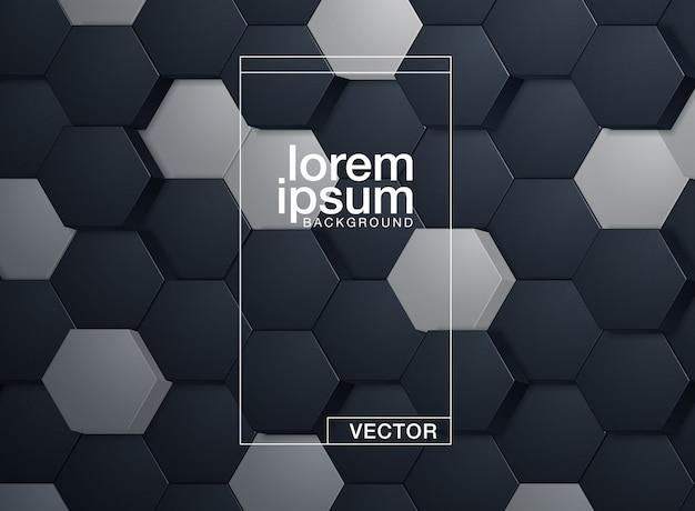 Embossed hexagon template Premium Vector