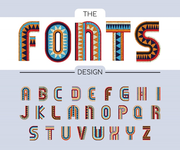 Embroidered alphabets wavy bohemian color fonts Premium Vector