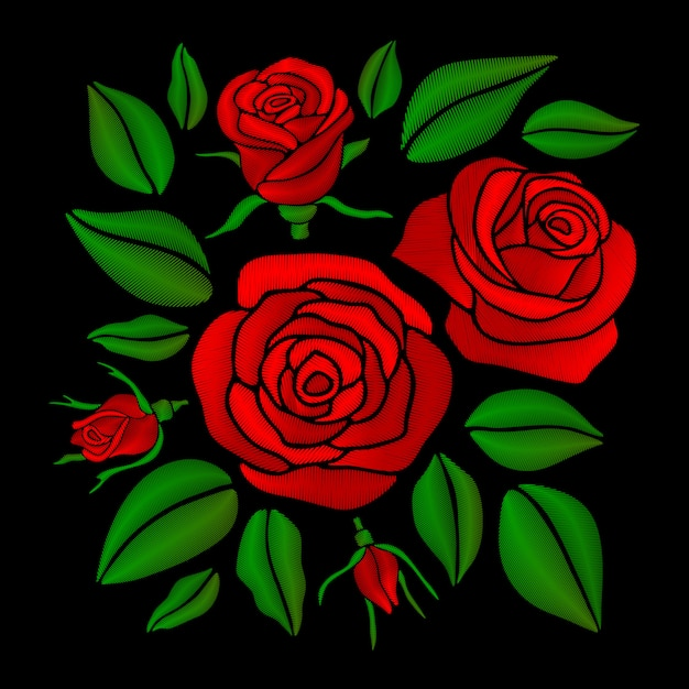 Embroidered red rose flowers vector set Premium Vector