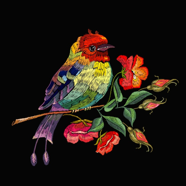 Embroidery, bird and wild roses flowers Premium Vector