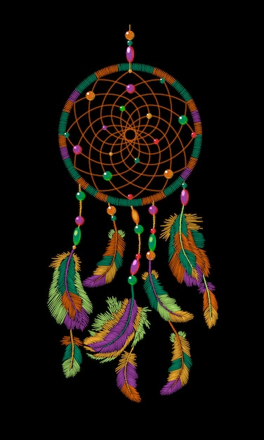 Embroidery boho native american indian dreamcatcher feathers, Premium Vector