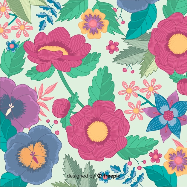 Embroidery colorful floral decorative background Free Vector