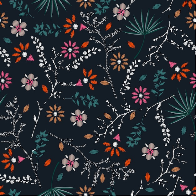 Embroidery colorful floral seamless pattern vector Premium Vector