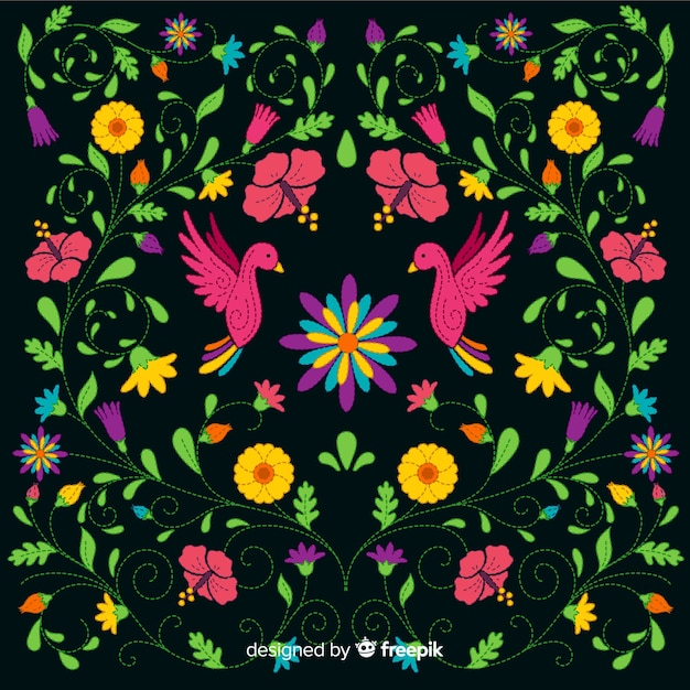 Embroidery colorful mexican floral background Free Vector