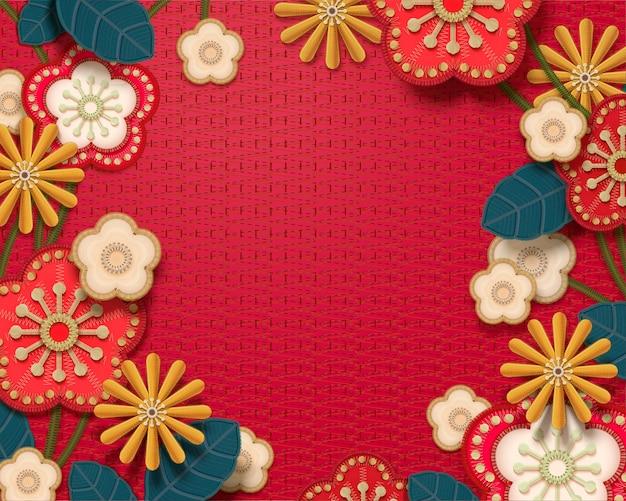 붉은 톤의 자 수 장식 꽃 프레임 배경 프리미엄 벡터
