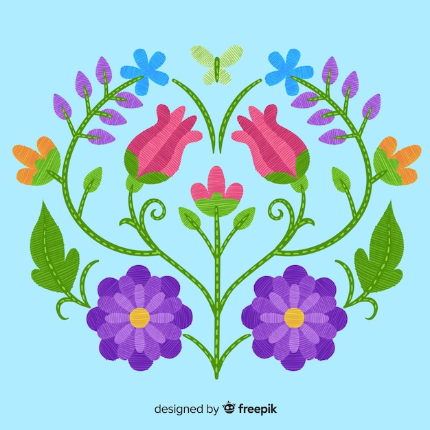Embroidery floral background Free Vector