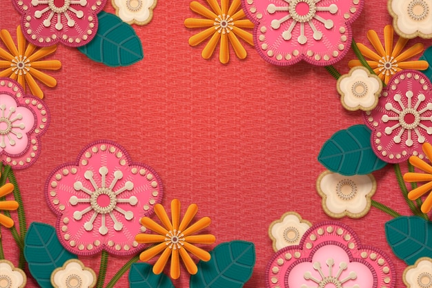 Embroidery floral frame with copy space on watermelon red background Premium Vector