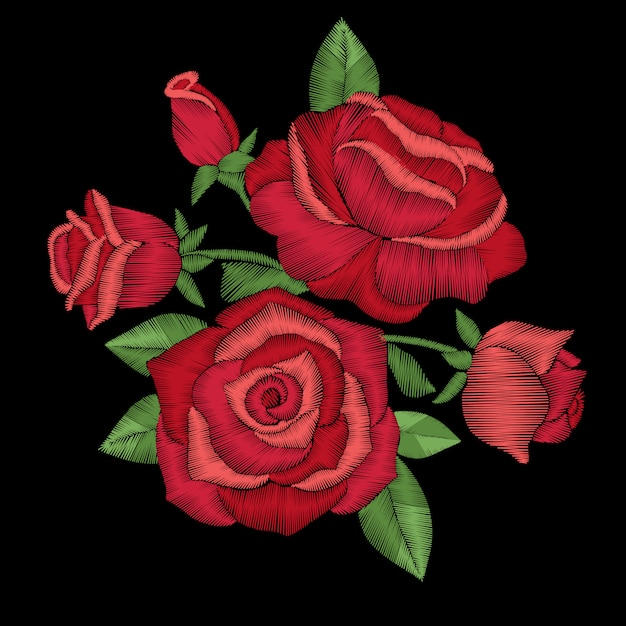 Embroidery floral with red roses Premium Vector