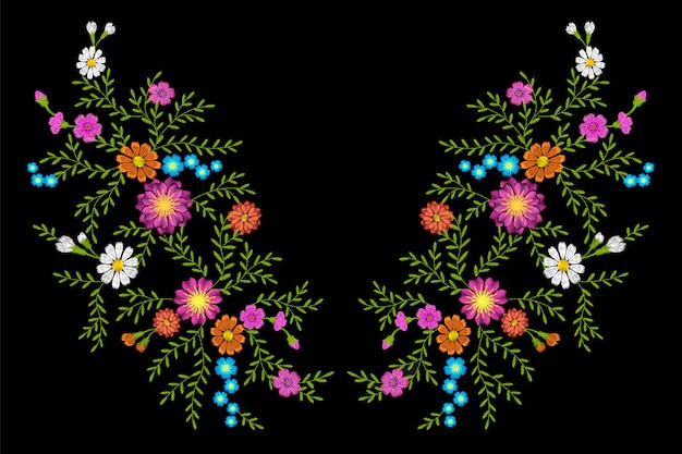 Embroidery flower daisy gerbera herb sticker patch fashion print textile Premium Vector