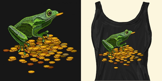 Embroidery frog and golden coins Premium Vector