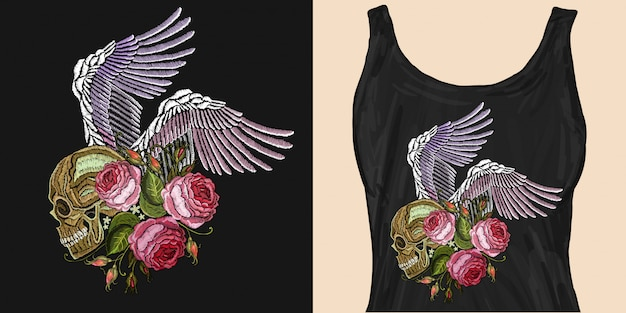 Embroidery human skull, angel wings and roses Premium Vector