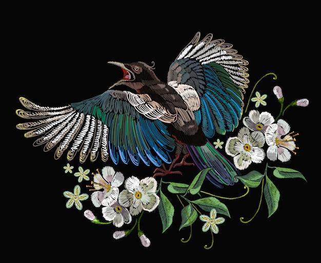 刺繍、カササギ鳥と花 Premiumベクター