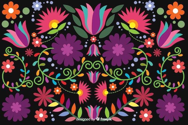 Embroidery mexican floral background Free Vector