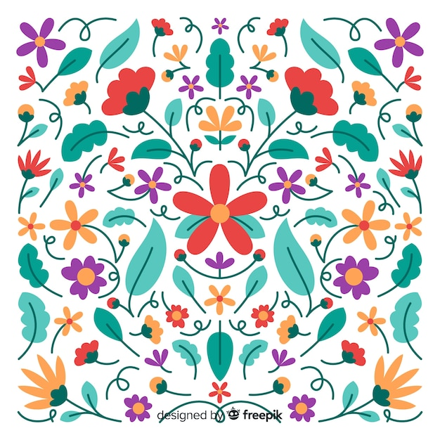 Embroidery mexican floral decorative background Free Vector