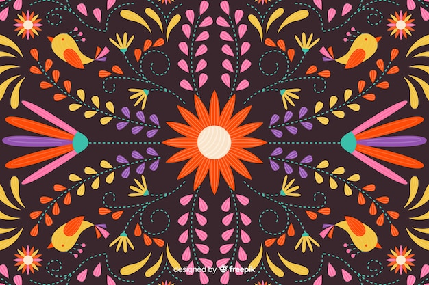 Embroidery mexican flower background Free Vector