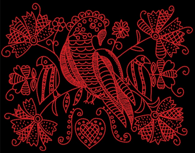 Embroidery pattern with birds and flowers in folk style. Premium Vector