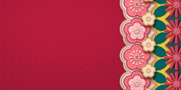 Embroidery plum flower and chrysanthemum frame banner Premium Vector