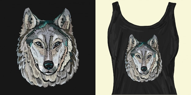 Embroidery. portrait of gray wolf Premium Vector