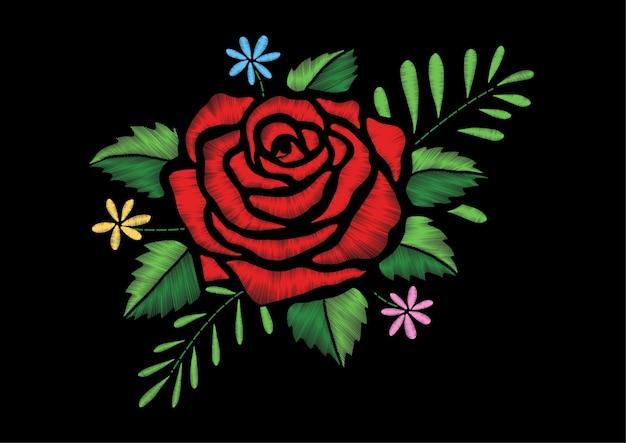 Embroidery rose design Premium Vector