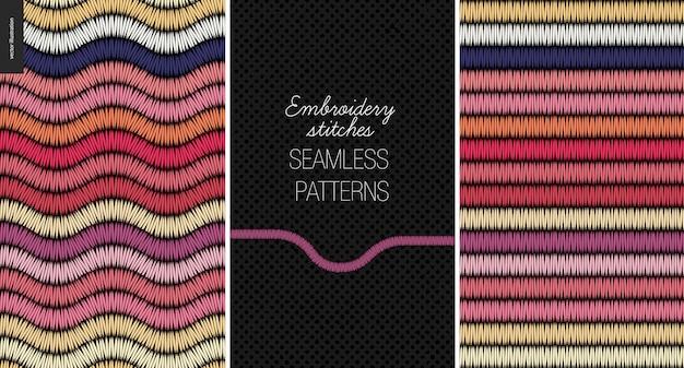 Embroidery satin stitch seamless patterns set Premium Vector