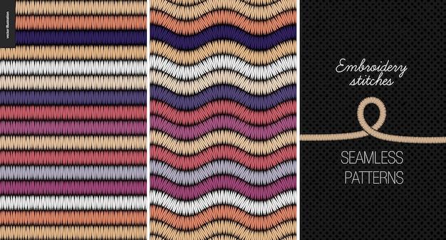 Embroidery satin stitch seamless patterns Premium Vector
