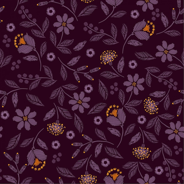 Embroidery seamless pattern with beautiful wild flowers Premium Vector