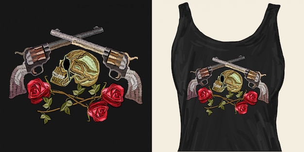 Embroidery skull, crossed guns and roses Premium Vector