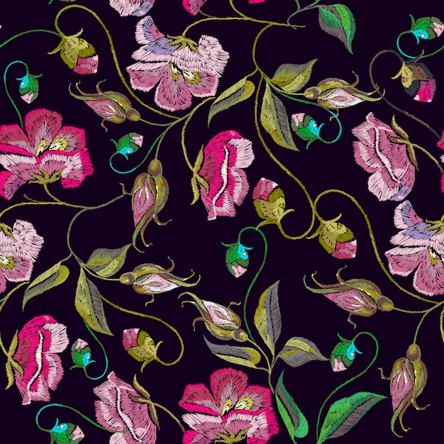 Embroidery spring flowers seamless pattern Premium Vector