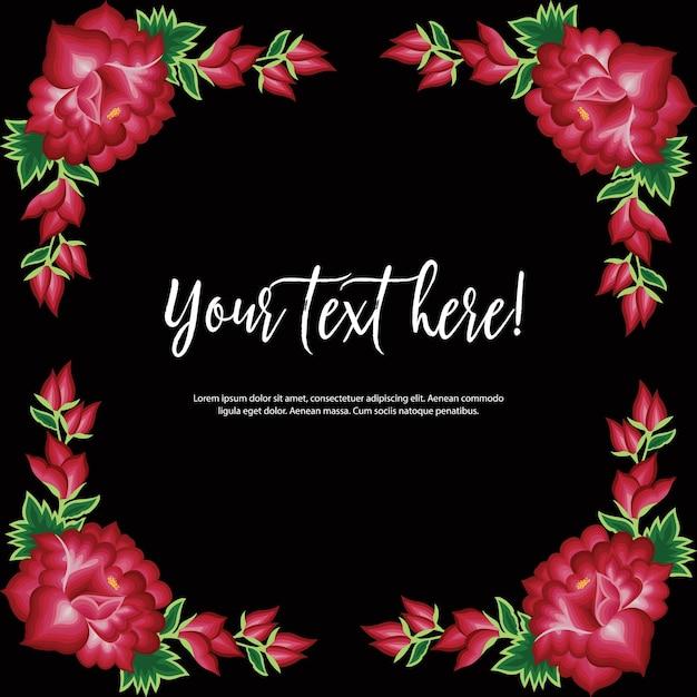 メキシコのオアハカの刺繡スタイル-花のコピースペース構成 Premiumベクター