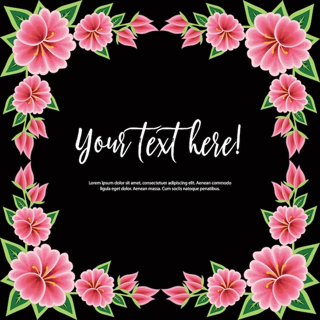 メキシコのオアハカの刺繡スタイル-花のコピースペーステンプレート Premiumベクター