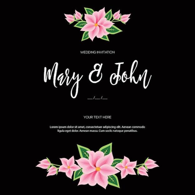 メキシコ、オアハカの刺繡スタイル-花の結婚式の招待状 Premiumベクター