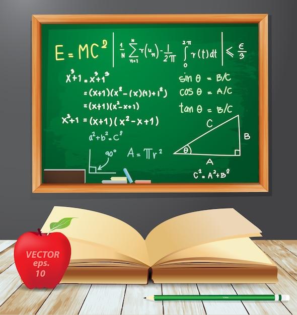 開いた本を持つ数学記号emc2の黒板の図 Premiumベクター