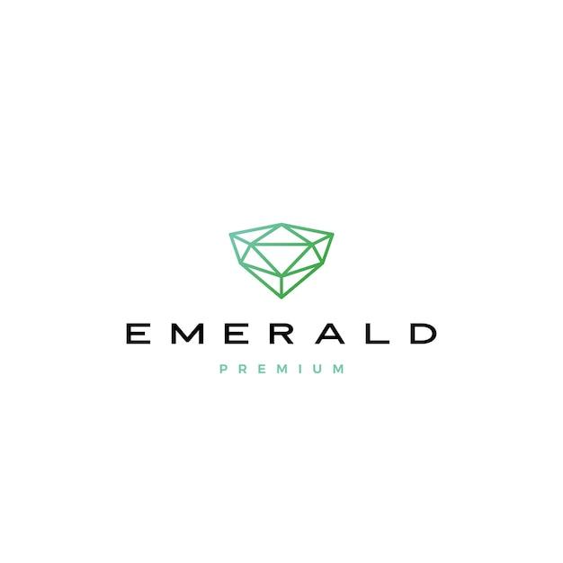 Изумрудный бриллиант логотип значок иллюстрации Premium векторы