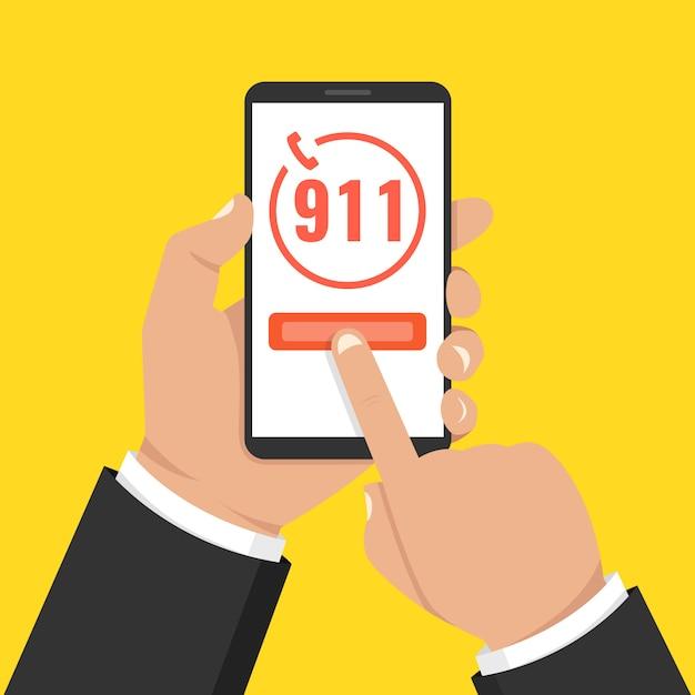 Emergency call 911 concept Premium Vector