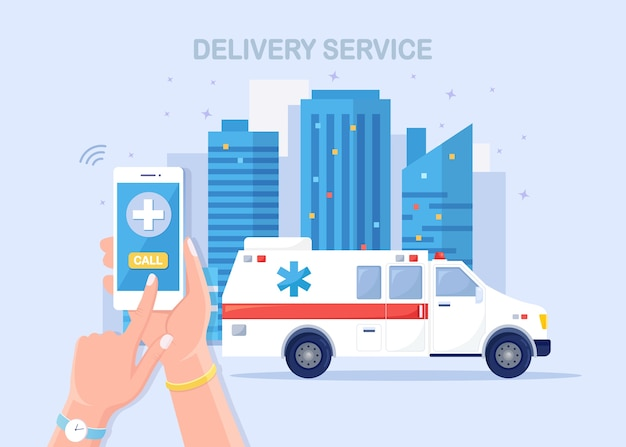 緊急通報サービス。救急車と電話で医師に電話してください。 Premiumベクター