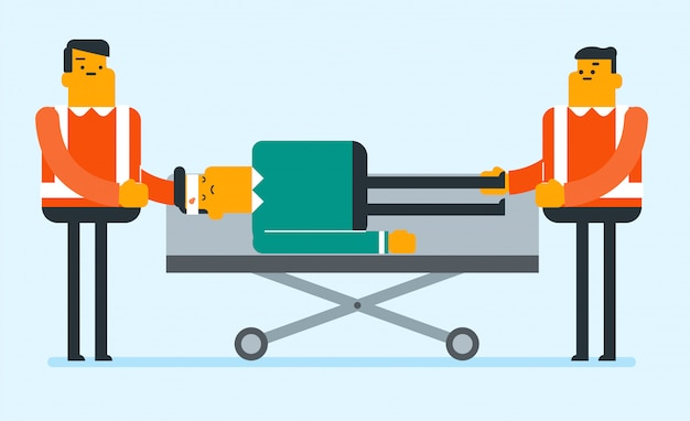 Emergency doctors transporting man on stretcher. Premium Vector