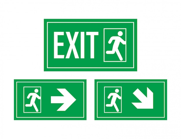 Emergency exit sign. protection symbol. fire .   illustration. Premium Vector