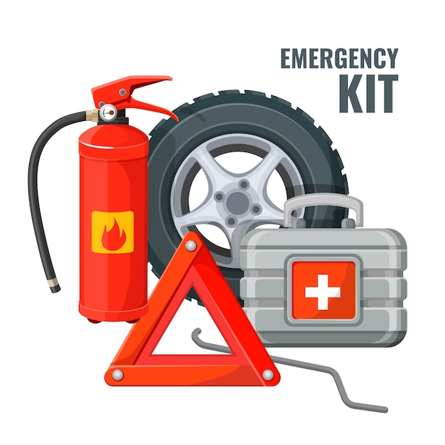 Emergency first aid kit in car and necessary auto service equipment Premium Vector