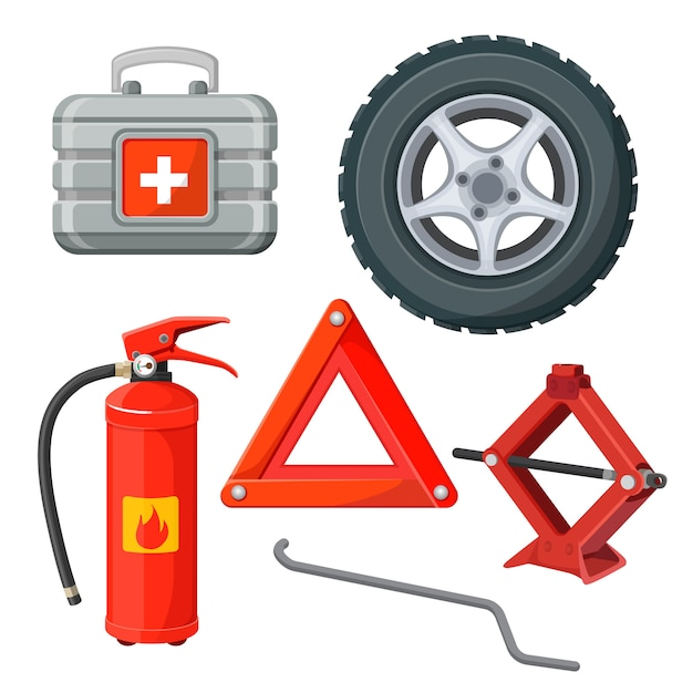 Emergency first aid kit in car Premium Vector