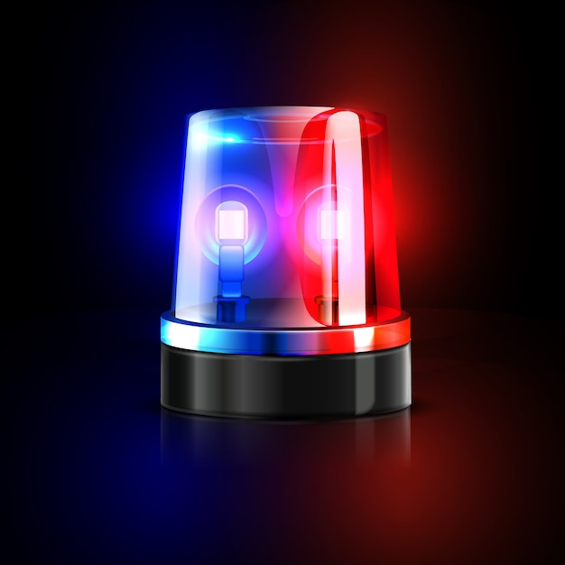 Emergency flashing police siren Premium Vector