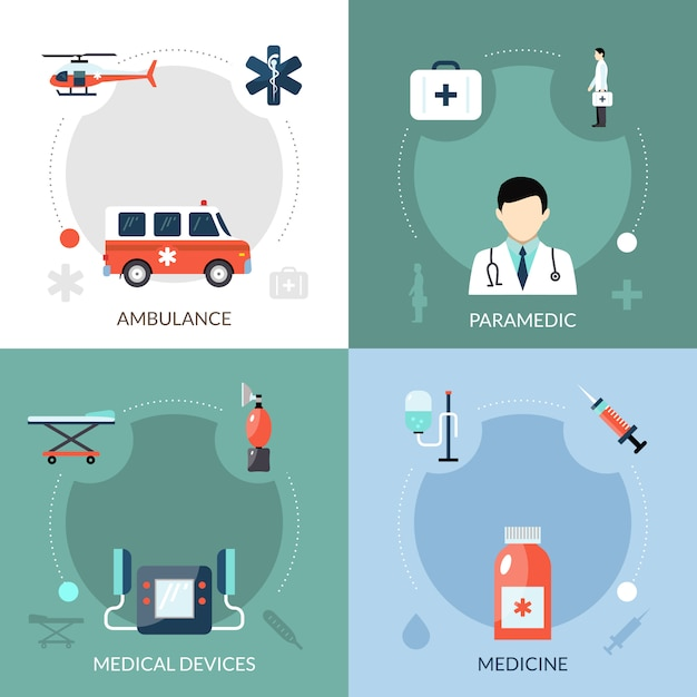 Emergency paramedic icons set Free Vector