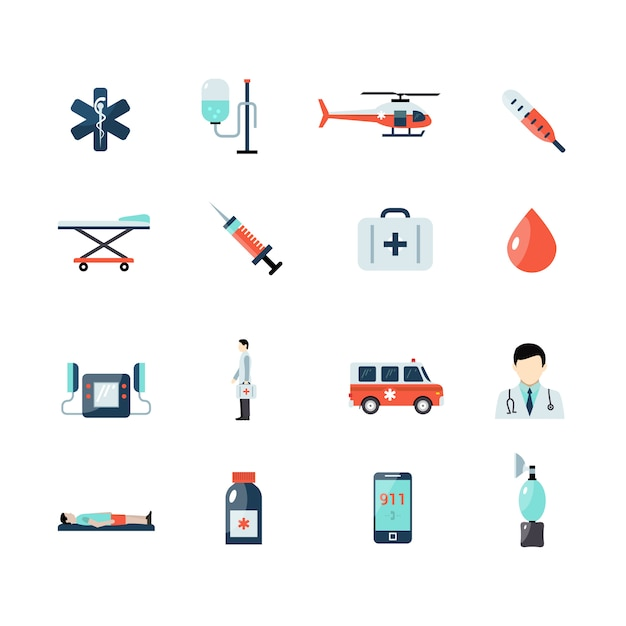 Emergency paramedic icons set Free Vector